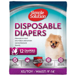 Simple Solution Disposable Diapers White 1ea/Extra-Small, Toy/Mini, 12 pk