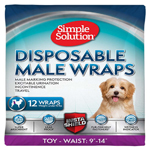 Simple Solution Disposable Male Wraps White 1ea/Extra-Small, Toy/Mini, 12 pk