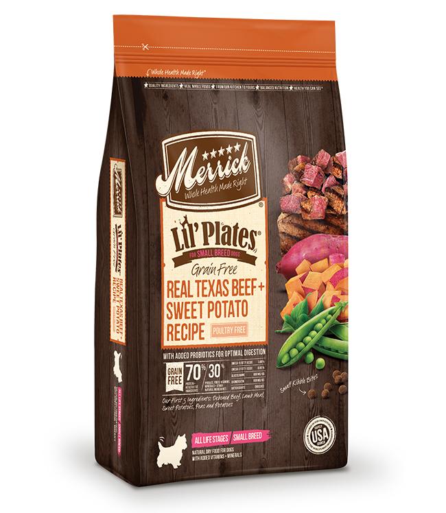 Merrick Lil' Plates Grain Free Real Texas Beef and Sweet Potato Recipe 12LB