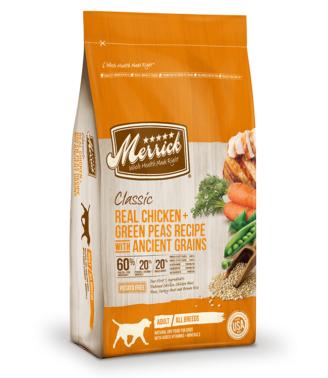 Merrick Classic Real Chicken and Green Peas Recipe with Ancient Grains 4 LB
