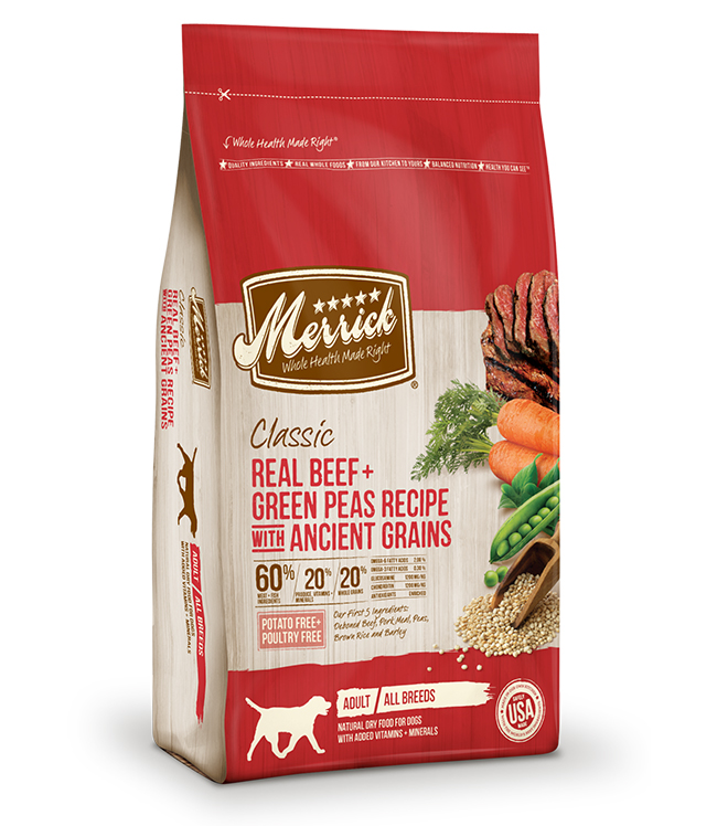 Merrick Classic Real Beef and Green Peas Recipe with Ancient Grains 12LB