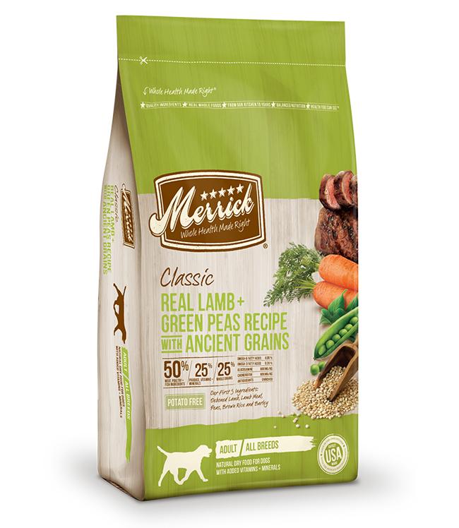 Merrick Classic Real Lamb and Green Peas Recipe with Ancient Grains 12LB