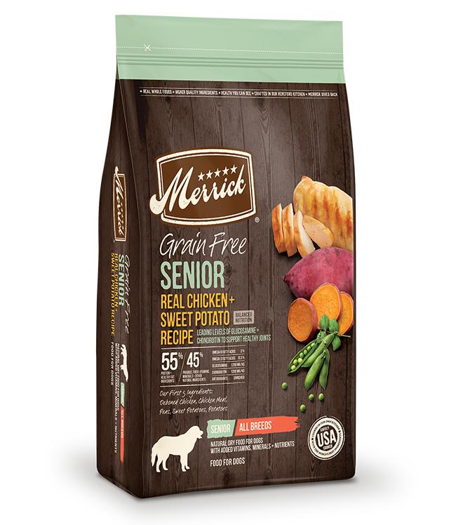 Merrick Grain Free Senior Real Chicken and Sweet Potato Recipe 12LB