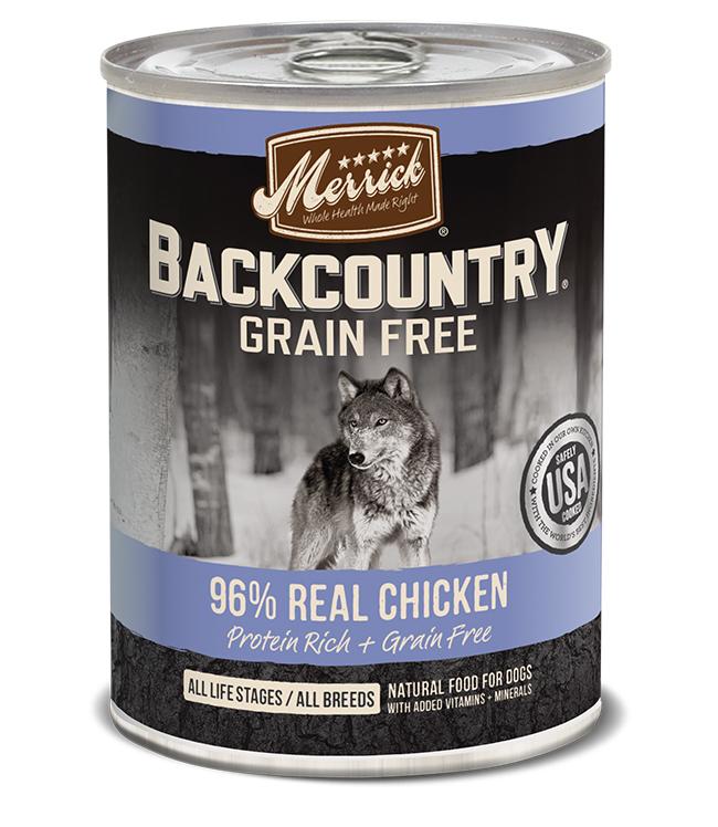 Merrick Dog Backcountry Grain Gree 96% Chicken 12.7 oz.(Case Of 12)