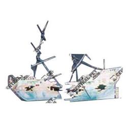 Penn-Plax Split Shipwreck Air Aquarium Ornament Blue, White 1ea