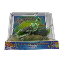 Penn-Plax Skeleton Aquarium Ornament with jug Air Skeleton with Jug & Treasure Chest Multi-Color 1ea