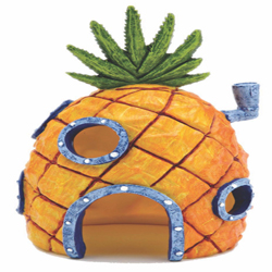 SpongeBob Sponge Pineapple House Aquarium Ornament Pineapple Home Orange, Grey, Green 1ea/6 in