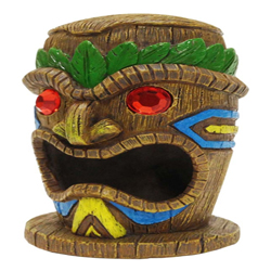 Penn-Plax Tiki Mask-Gazer Aquarium Ornament Tiki Gazer Brown, Green 1ea/4 in, Small