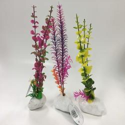 Penn-Plax Rock Aquarium Plant Style Assorted 1ea/12 in