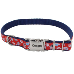 Ribbon Adjustable Nylon Dog Collar with Metal Buckle Red 1ea/5/8 In X 12-18 in