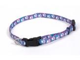 Coastal Li'l Pals Adjustable Patterned Collar Light Blue Paw 5/16X6-8in