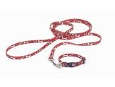 Coastal Li'l Pals Patterned Leash with E-Z Snap Red White Bone 5/16X6ft