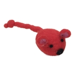 "Coastal Pet- Rascals 4"" Handcrafted Wool Bird with Feathers Cat Toy Red"