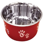 Ethical Products Barcelona Stainless Steel Paw Print Bowl Raspberry 64oz