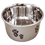 Ethical Products Barcelona Stainless Steel Paw Print Bowl Silver 64oz