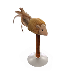 Spot Squeakeeez Mouse On Suction Cup Cat Toy Tan/Brown 1ea/7 in