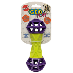 Spot Geo Play Dual Texture Dumbbell Dog Toy Assorted 1ea/7 in