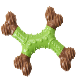 Bam-Bone Dental X-Bone Dog Toy Green/Brown 1ea/8 in