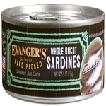 Evangers Hand Packed Whole Uncut Sardines Can Cat Food 5.5oz/24pk