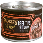 Evangers Hand Packed Super Premium Beef Tips with Gravy Can Cat Food 5.5oz/24pk