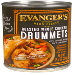 Evangers Hand Packed Roasted Chicken Drummet Dinner Can Dog Food 12ea/12oz