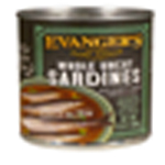 Evangers Hand Packed Whole Uncut Sardines Can Dog Food 12ea/12oz