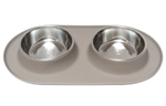 Messy Mutts Double Feeder Grey 1.5 Cup