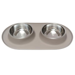 Messy Mutts Double Feeder Grey 6 Cup