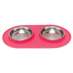 Messy Mutts Cat Double Feeder Silicone Red