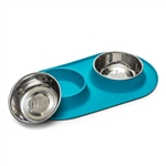 Messy Mutts Dog Double Feeder Blue 3 Cup