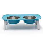 Messy Mutts Dog Double Feeder Elevated Blue