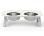 Messy Mutts Dog Double Feeder Elevated Light Grey