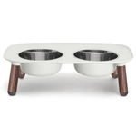 Messy Mutts Dog Double Feeder Elevated Limited Edition Grey