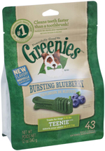 GREENIES Blueberry Flavor TEENIE Dog Dental Chews  - 12 Ounces 43 Treats
