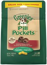 GREENIES PILL POCKETS Treats for Dogs Hickory Smoke Flavor - Capsule Size 15.8 oz. 60 Treats