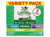 GREENIES 3-Flavor Variety Pack TEENIE Dog Dental Chews 36 Ounces 129 Treats