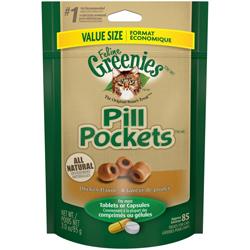 Greenies FELINE Pill Pockets Chicken Flavor Cat Treats 1ea/3 oz, 85 ct