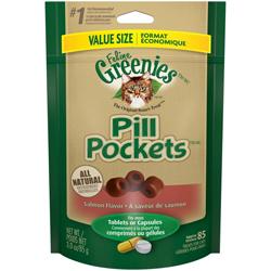 Greenies FELINE Pill Pockets Salmon Flavor Cat Treats 1ea/3 oz, 85 ct