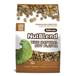 ZuPreem NutBlend with Natural Nut Flavor Pelleted Bird Food for Parrots and Conures 1ea/3.25 lb