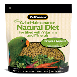 ZuPreem Natural Pelleted Bird Food for Parrots and Conures 1ea/3 lb