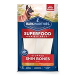 "Barkworthies Dog Shin Bone Stuffed 5-6"" Variety Pk"