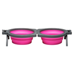 Loving Pets Travel Double Diner Dog Bowl Pink 1ea/Small