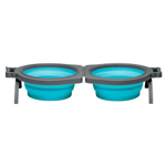 Loving Pets Travel Double Diner Dog Bowl Blue 1ea/Small