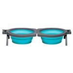 Loving Pets Travel Double Diner Dog Bowl Blue 1ea/Medium