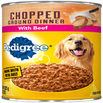 PEDIGREE Chopped Ground Dinner with Beef Canned Dog Food 12ea/22oz