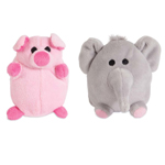 ZOOBILEE Elephant And Pig Dog Toy Assorted Assorted 1ea/Mini, 2 pk