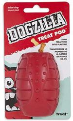 Dogzilla Treat Pod Dog Toy Red 1ea/Medium