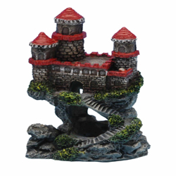 Penn-Plax Castle Ornament Red Mini