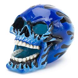 Penn-Plax Flaming Skull Blue 4.25x3x3.5in