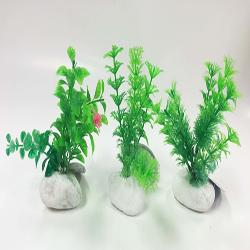 Penn-Plax Rock Plant Ornament Green 6in